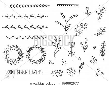 Collection of hand drawn doodle design elements isolated on white background. Set of handdrawn borders laurel wreaths floral dividers ribbons. Abstract hand sketched shapes. Vector illustration.