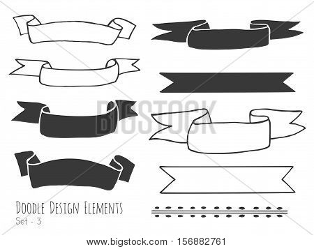 Collection of hand drawn doodle design elements isolated on white background. Set of handdrawn borders ribbons banners. Abstract hand black sketched shapes. Vector illustration.