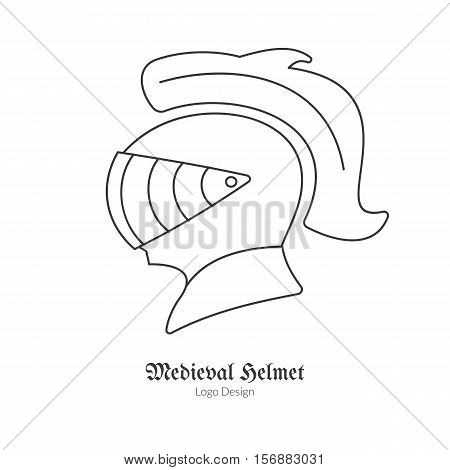 Medieval Knight protection helmet. Single logo in modern thin line style isolated on white background. Outline medieval theme symbol. Simple mono linear pictogram. Stroke vector logotype template.