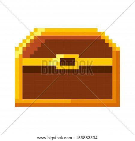 treasure chest pixelated icon vector illustration design