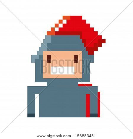 game warrior pixelated icon vector illustration design