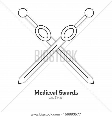 Medieval crossed swords. Single logo of weapons in modern thin line style isolated on white background. Outline medieval theme symbol. Simple mono linear pictogram. Stroke vector logotype template.