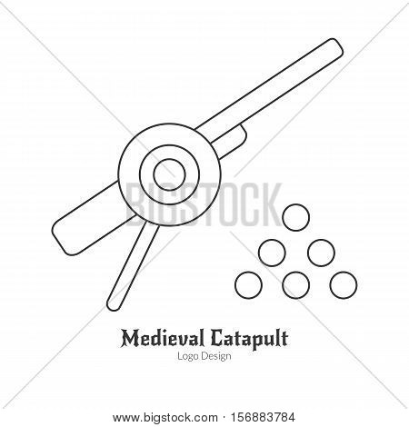 Medieval cannon with cannonballs catapult. Single logo in thin line style isolated on white background. Outline medieval theme symbol. Simple mono linear pictogram. Stroke vector logotype template.