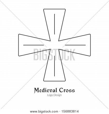Medieval knight cross insignia symbol. Single logo in modern thin line style isolated on white background. Outline medieval theme symbol. Simple mono linear pictogram. Stroke vector logotype template