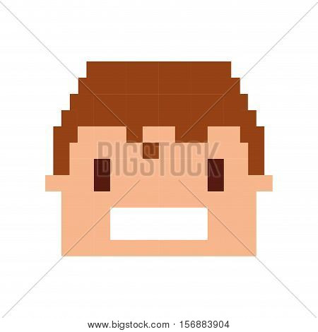 head human pixelated icon vector illustration design