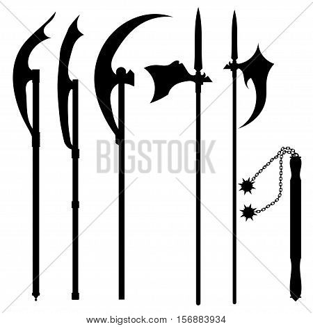 Set of silhouettes of halberds isolated on white background