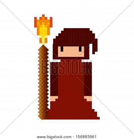 monk game pixelated icon vector illustration design