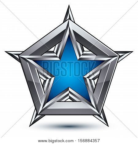 Silvery blazon with pentagonal blue star can be used in web and graphic design