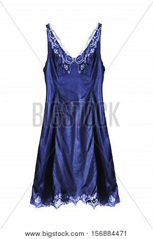 Dark blue satin nightgown on white background