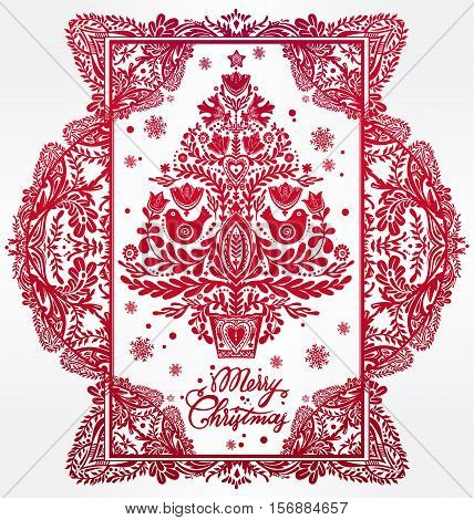 Christmas tree with beautiful highly detailed letterpress holiday Scandinavian folk style elements in a lovely frame. Vector illustration. Happy New year. Traditional decorative card design.