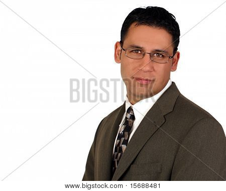 Hispanic businessman, isolated on white