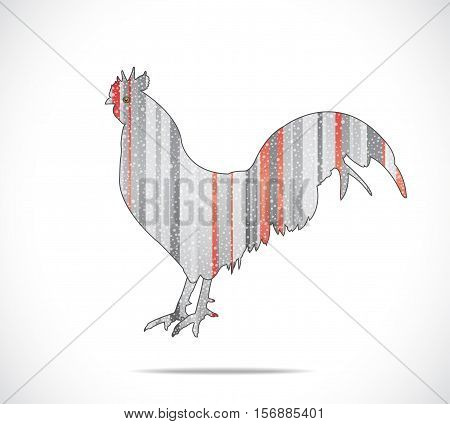 Abstract gray and red rooster. Illustration 10 version