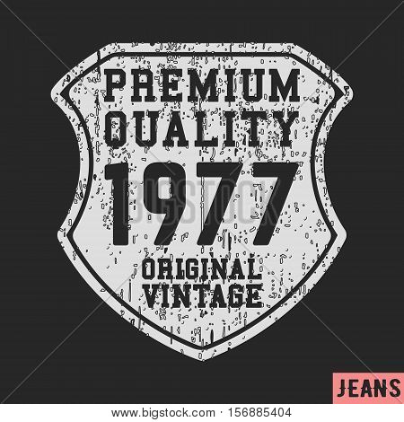 T-shirt print design. 1977 shield vintage stamp. Printing and badge applique label t-shirts jeans casual wear. Vector illustration.