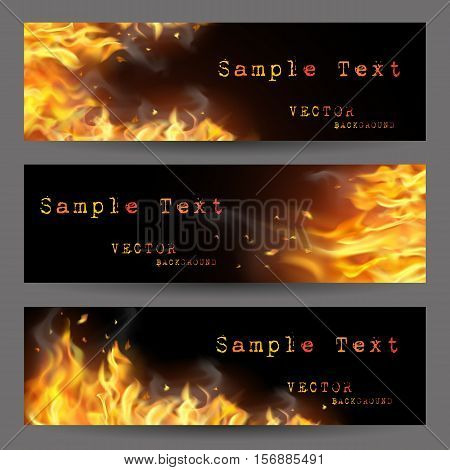 Fire flame horizontal banners set with sparks and places for text on black background isolated vector illustration