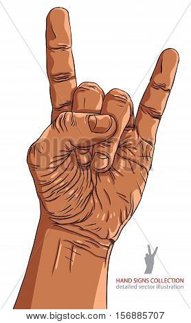 Rock on hand sign rock n roll hard rock heavy metal music detailed lines vector illustration hand drawn.