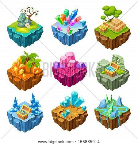 Set of isometric gaming islands with mineral stones and treasure chests trees and rivers isolated vector illustration