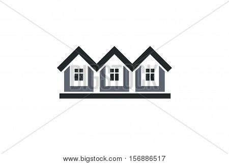 Abstract Simple Country Houses Vector Illustration, Homes Image. Touristic And Real Estate Idea – Th