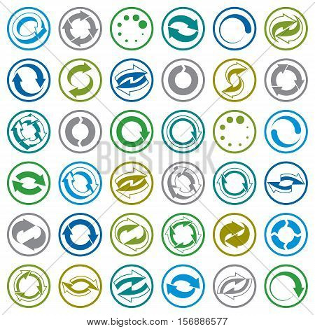 Reload icons isolated on white background vector set loop arrows refresh web theme simplistic symbols vector collections.