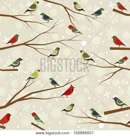 Vector seamless pattern of forest birds on a floral background