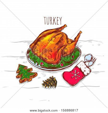 Drawn christmas sketch image of grilled turkey on plate with flatware in mitten and decorative accessories vector illustration