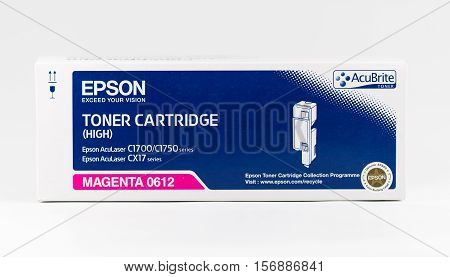 WREXHAM UK - OCTOBER 27 2016: Close up of a Magenta high capacity Epson Acubrite toner cartridge for the AcuLaser C1700/1750 series and CX17 series printers on a white background.