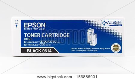 WREXHAM UK - OCTOBER 27 2016: Close up of a Black high capacity Epson Acubrite toner cartridge for the AcuLaser C1700/1750 series and CX17 series printers on a white background.