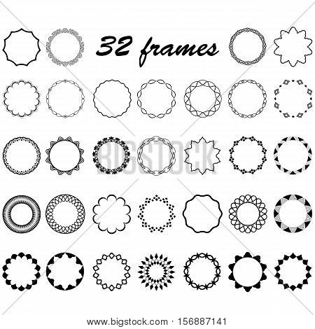 vector set of round and circular empty frames for decoration of text design borders