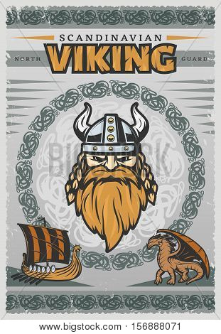 Viking vintage poster with face of Scandinavian Viking and his reg beard vector illustration