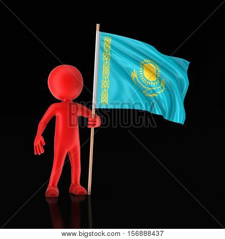 3D Illustration. Man and Kazakh flag. Image with clipping path