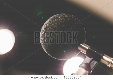 High accuracy microphone in noise (sound) testing room with LED light. High technology. Microphone for nosie recorder.