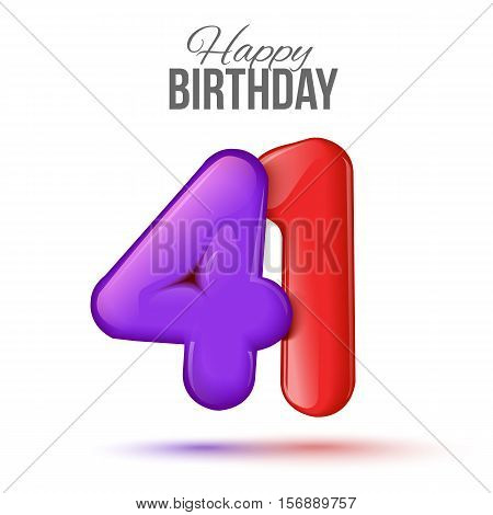 forty one birthday greeting card template with 3d shiny number forty one balloon on white background. Birthday party greeting, invitation card, banner with number 41 shaped balloon