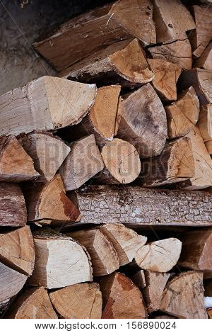 Pile of chopped fire wood logs. Ready for winter