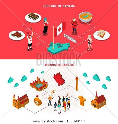 Canadian historical landmarks and attractions for tourists 2 isometric horizontal banners with national cuisine dishes isolated vector illustration