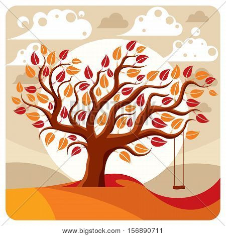 Vector branchy tree with swing on beautiful cloudy autumn landscape.