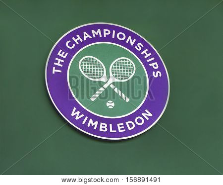 London, the UK - May 2016: Wimbledon Grand Slam Emblem