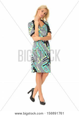 Full Length Of Flirtatious Woman In Dress Isolated On White
