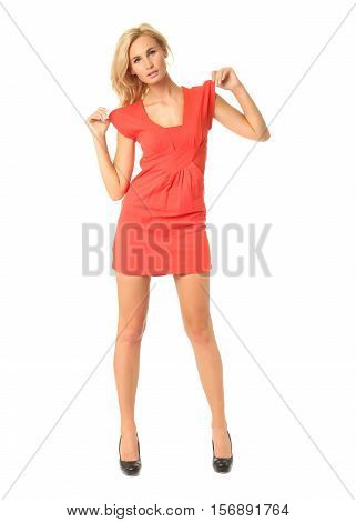 Portrait Of Flirtatious Woman In Short Red Dress Isolated On White