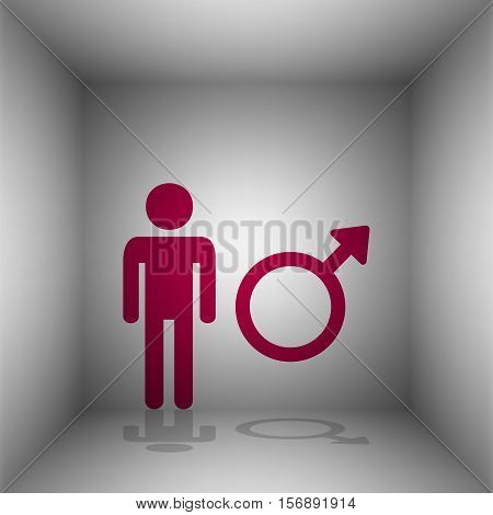 Male Sign Illustration. Bordo Icon With Shadow In The Room.