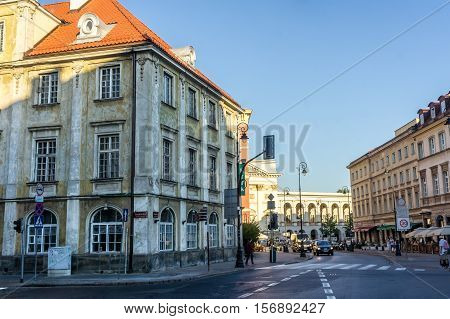 WARSAW POLAND - SEPTEMBER 14: The historic center of Warsaw near the Castle Square and St. Anne's Church in Warsaw Poland on September 14 2016