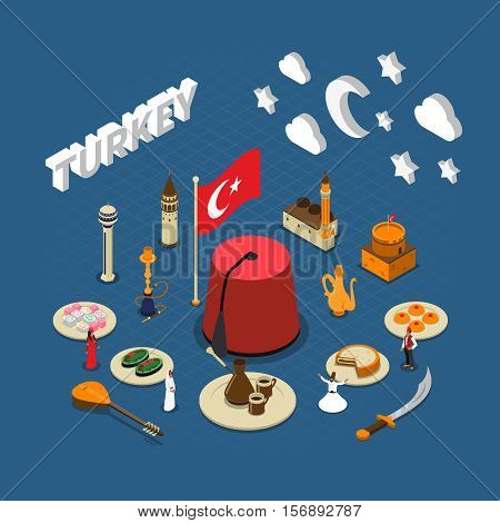 Turkish cultural isometric symbols composition poster for travelers with traditional sweets landmarks and red tassel hat vector illustration