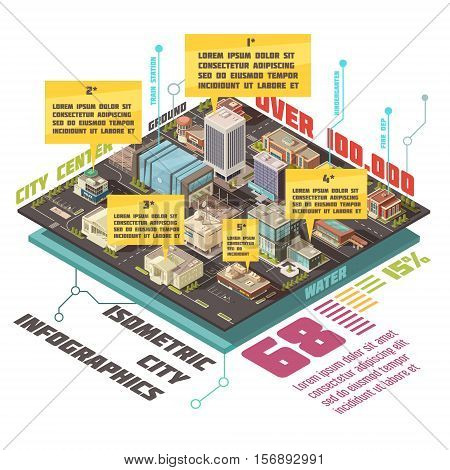 Government buildings isometric infographic set with state establishments symbols vector illustration