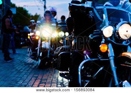 MOSCOW RUSSIA - OCTOBER 6 2013: A bikers meetup near Vorobyovi Gori.