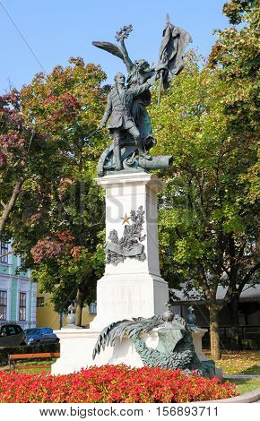 1849 Hungarian Declaration Of Independence Monument in the center of Budapest Hungary