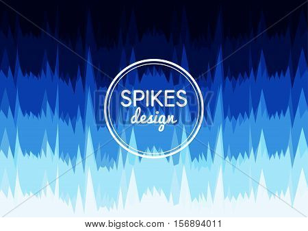 Vector background of sharp spikes in rows. Organic shapes. Blue gradient