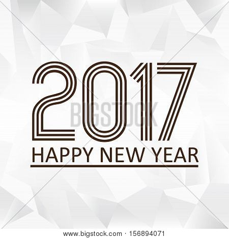 Happy New Year 2017 On Wrinkled Paper Low Polygon Background Eps10