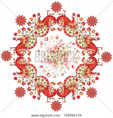 Peacocks and flowers on white background. Vector illustration of colorful shawl. Ornamental bandana or silk neck scarf. Kerchief square pattern.