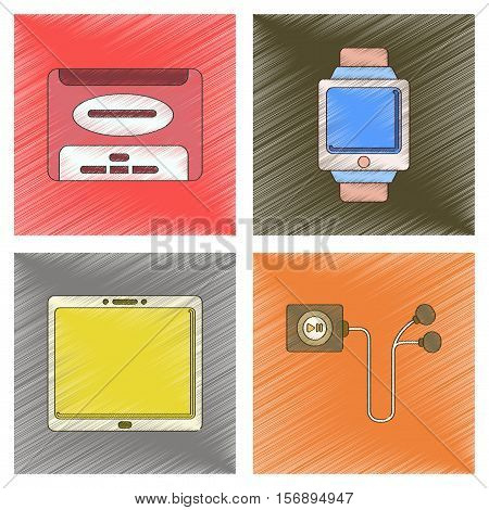 assembly flat shading style illustration of tablet gadget Digital Watch hard drive player headphones