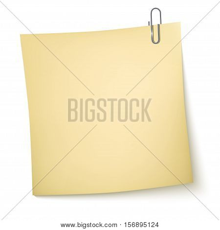 Note Paper with paperclip on white background