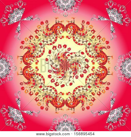 Peacocks and flowers on gradient background. Vector illustration of colorful shawl. Ornamental bandana or silk neck scarf. Kerchief square pattern.