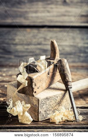 Wooden Hammer And Planer In A Carpentry Workshop